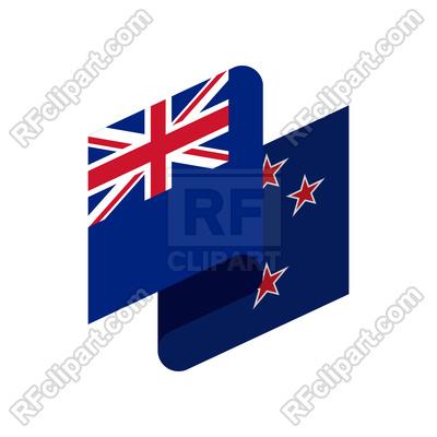 400x400 New Zealand Ribbon Flag Isolated Royalty Free Vector Clip Art