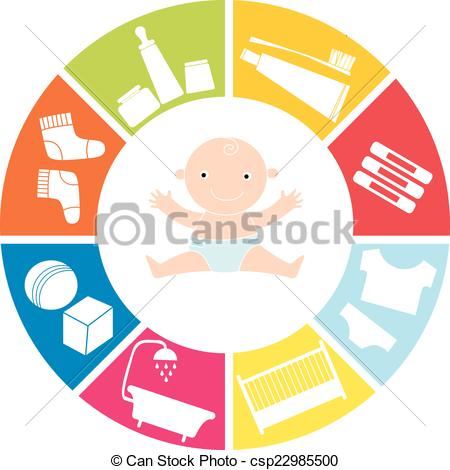 450x470 Baby Items. Range Of Subjects For The Newborn Baby. Vector