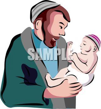 322x350 Cartoon Of A Rabbi Holding A Newborn Baby