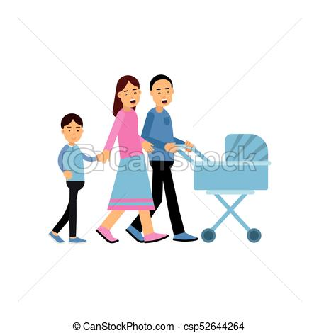 450x470 Young Parents Walking With Their Son And Newborn Baby In Clip