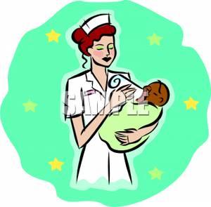 300x295 A Nurse Feeding A Bottle To A Newborn Baby