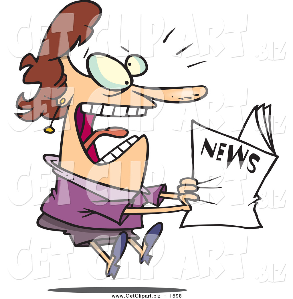 1024x1044 Clip Art Of A Paranoid Woman Reading The Newspaper By Toonaday