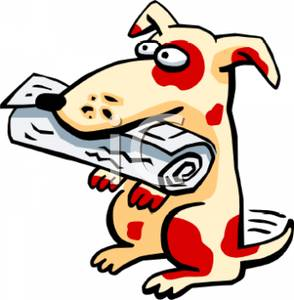 294x300 Clipart Image A Dog With A Rolled Up Newspaper In Its Mouth
