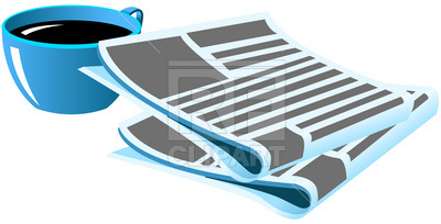 400x204 Morning Coffee And Newspaper Royalty Free Vector Clip Art Image