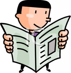 290x300 A Man Reading The Newspaper Clipart Picture