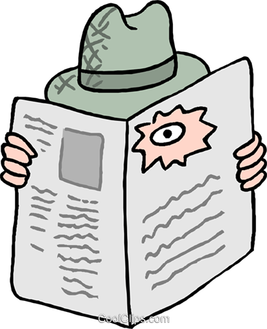 389x480 Looking Through A Hole In A Newspaper Royalty Free Vector Clip Art