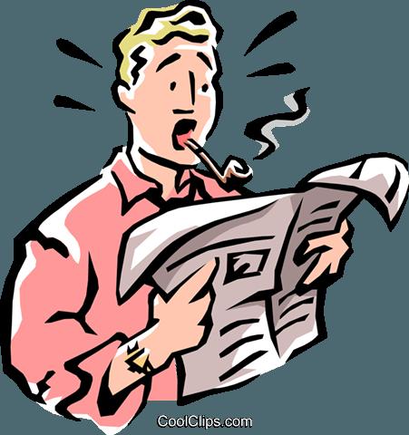 451x480 Man Reading Newspaper Royalty Free Vector Clip Art Illustration