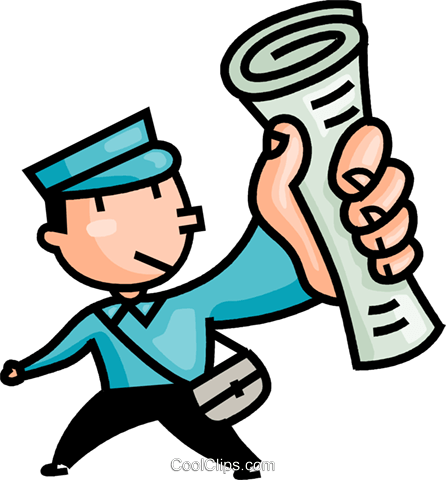 446x480 Paper Boy Delivering The Newspapers Royalty Free Vector Clip Art