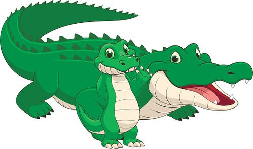499x294 Adult And Baby Crocodile Premium Clipart