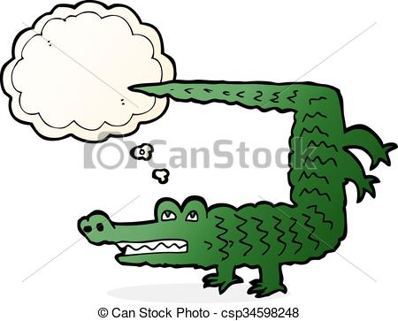 450x363 Cartoon Crocodile With Thought Bubble Eps Vector