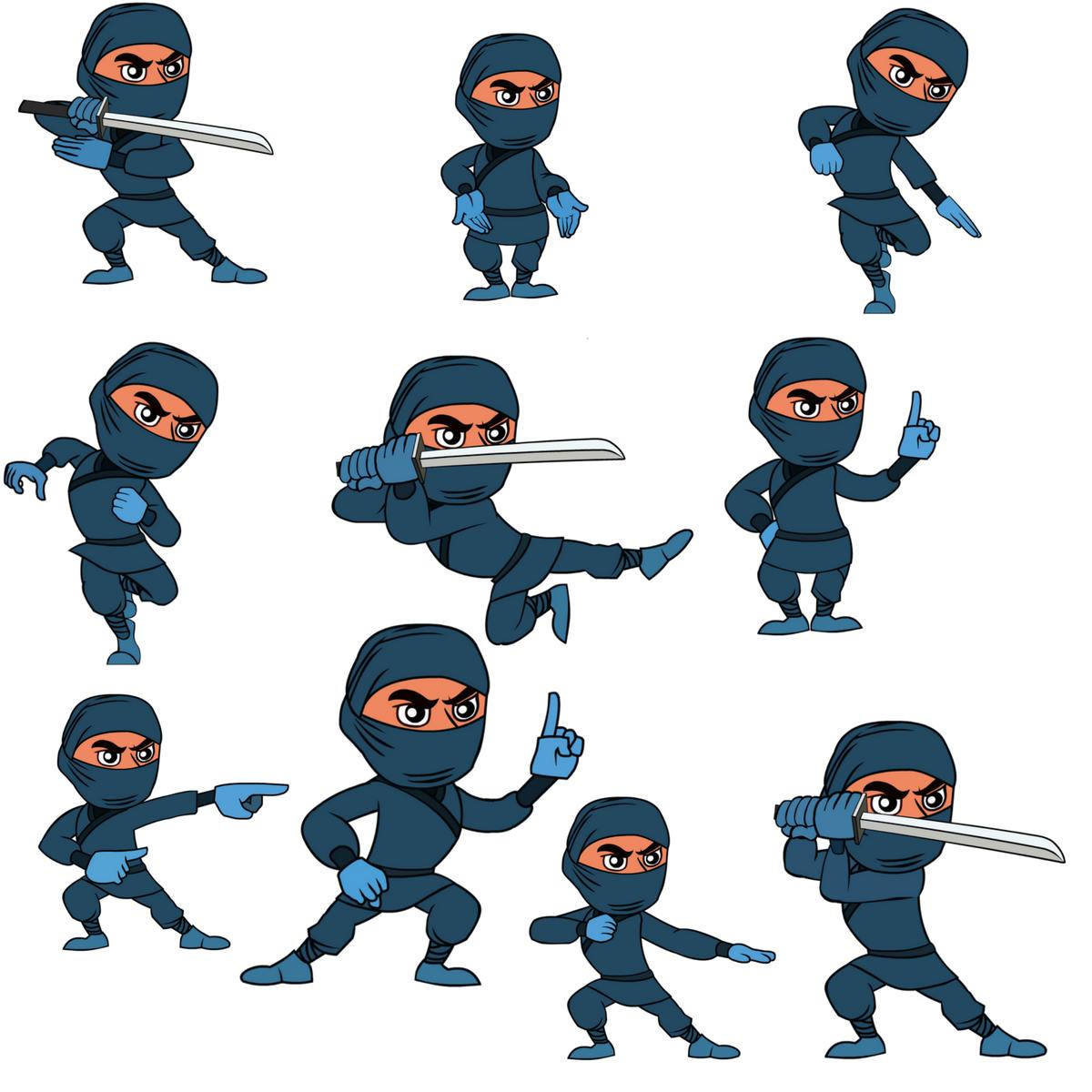 1200x1200 Ninja Clipart,ninja Clip Art,character Design Digital Clipart Set