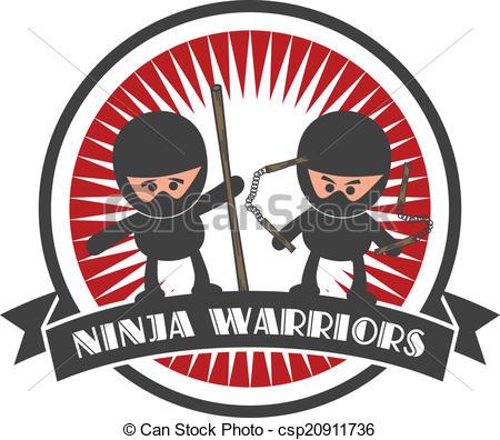 450x396 Editable Ninja Cartoon Label Sticker Vector Graphic Art Vectors