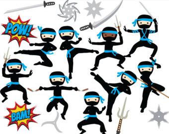340x270 Fanciful Ninja Clipart Clip Art Etsy