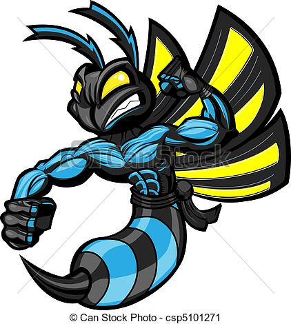 422x470 Fighting Ninja Hornet. Fighting Hornet In Battle Ready Vector