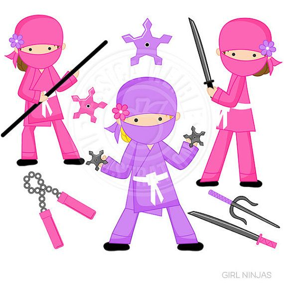 570x570 Girl Ninja Clipart Set Comes With 7 Graphics Including 3 Pink