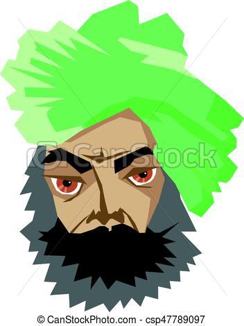 352x470 Vector Illustration Of Indian Man In Turban Eps Vectors