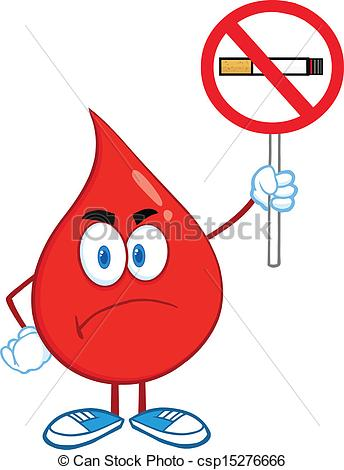 344x470 Blood Drop With A No Smoking Sign. Angry Red Blood Drop Clip