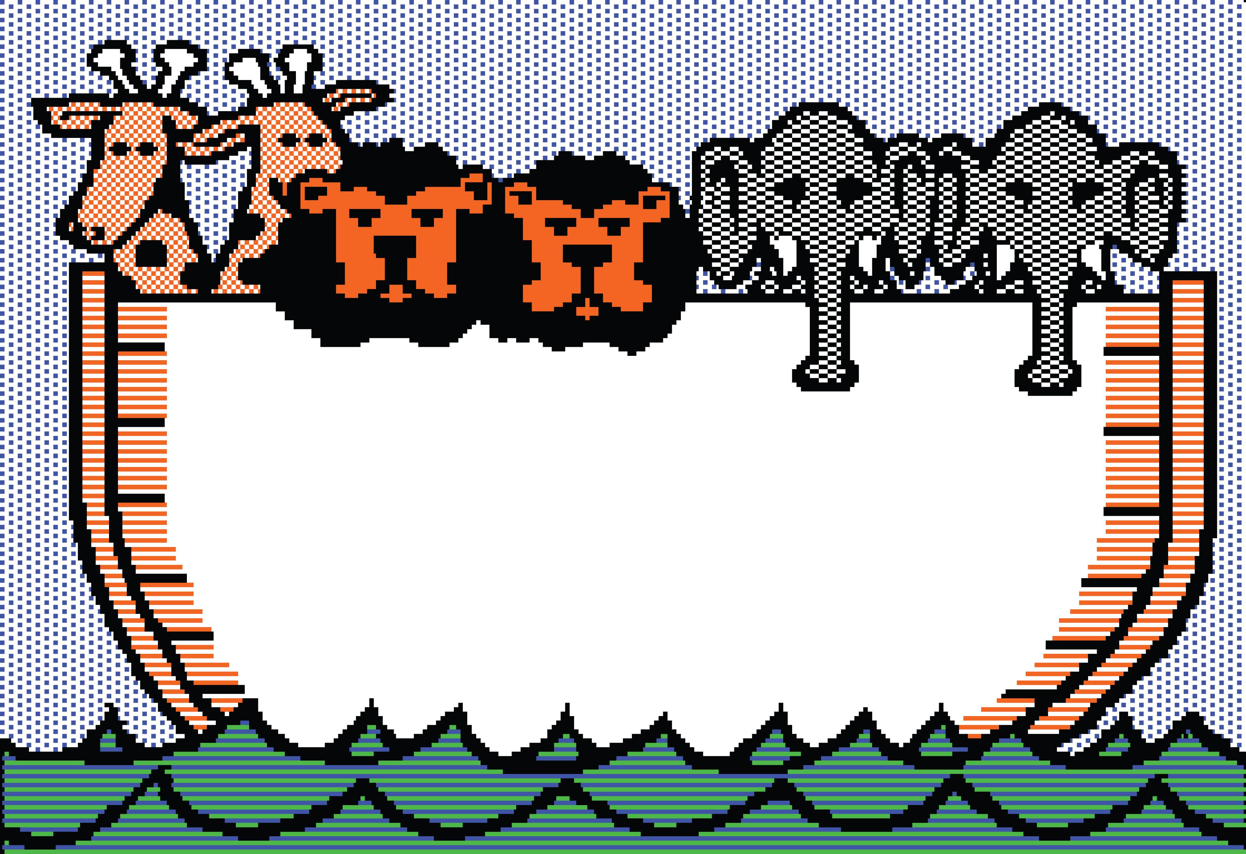 4000x2743 Free Clipart Of A Noahs Ark Beagle Screen With Giraffes, Lions
