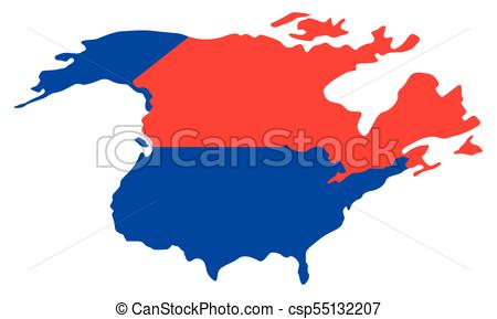 450x289 Political Map Of North America. Vector Illustration Design Vector