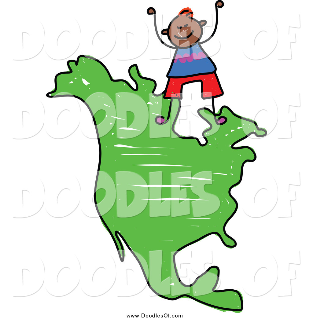1024x1044 Vector Clipart Of A Doodled Boy Standing On A Map Of North America