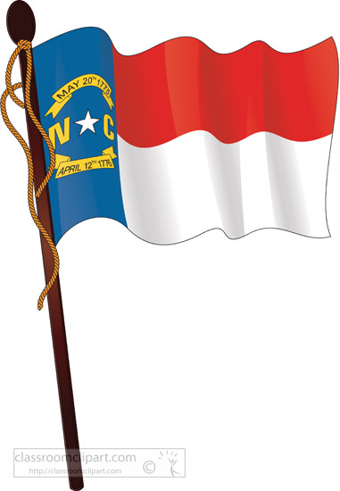 381x550 State Flags Clipart North Carolina Waving State Flag On Flagpole