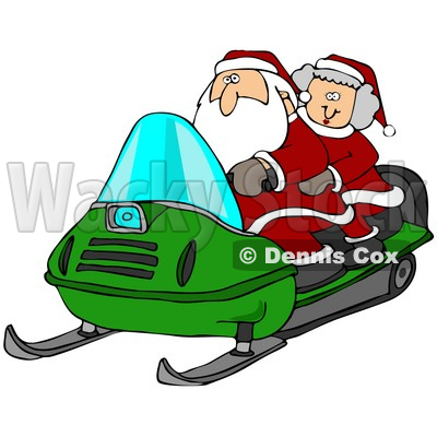 400x400 Clipart Illustration Of Santa Claus And Mrs Claus Riding A Green