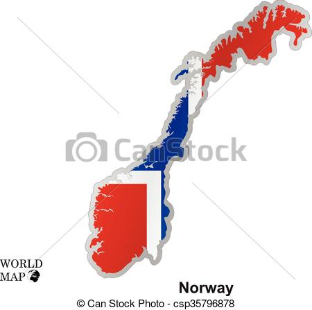 450x447 Map Norway. Map With Flag. Map Art Vector Background Nation