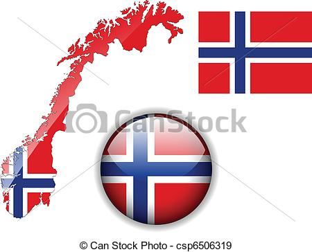450x364 Norway Flag, Map And Glossy Button. Norway Flag, Map And Eps