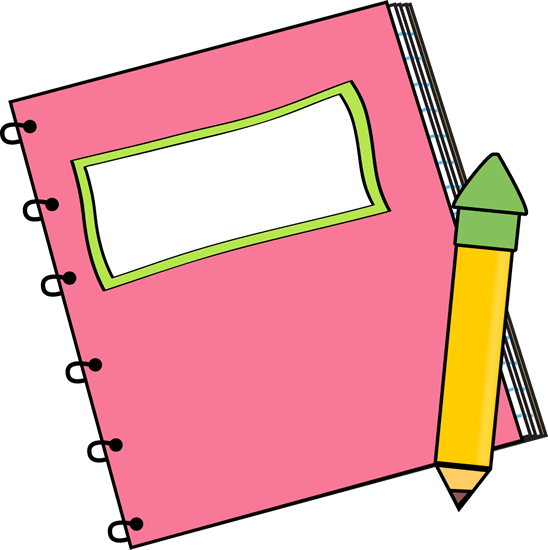 548x550 Pink Notebook With A Pencil Clip Art