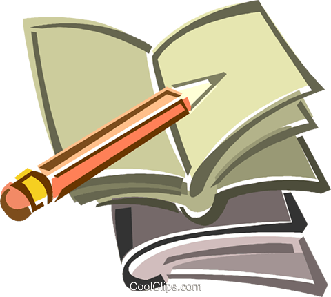 480x430 Pencil And Notebook Royalty Free Vector Clip Art Illustration