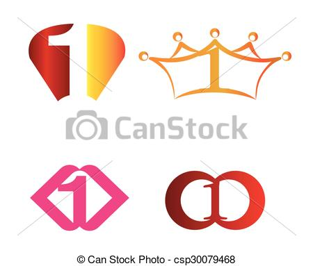 450x383 Abstract Number 1 Logo Symbol Icon Set Clip Art Vector