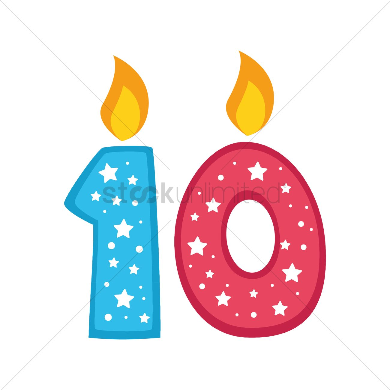 1300x1300 Number 10 Candles Vector Image