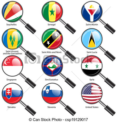 450x470 Set Flags Of World Sovereign States Magnifying Glass. Vector
