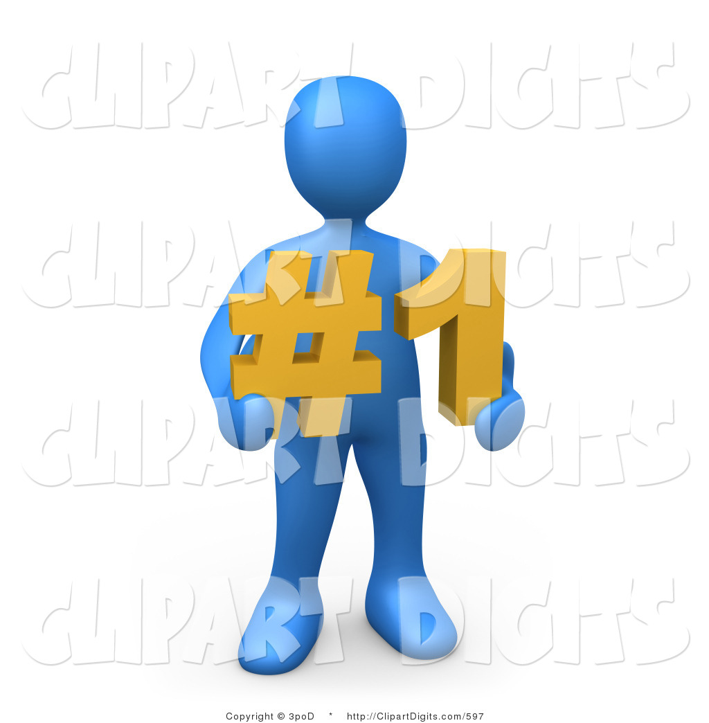 1024x1044 Clip Art Of A 3d Blue Person Holding Number One By 3pod