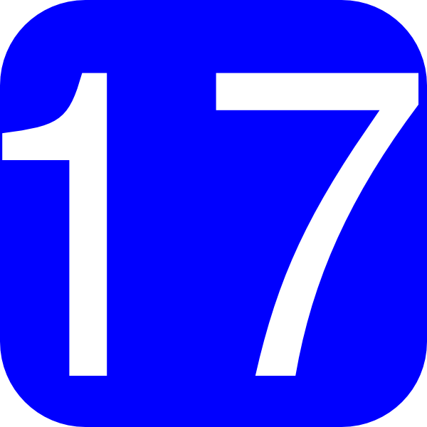 600x600 Blue, Rounded, Square With Number 17 Clip Art