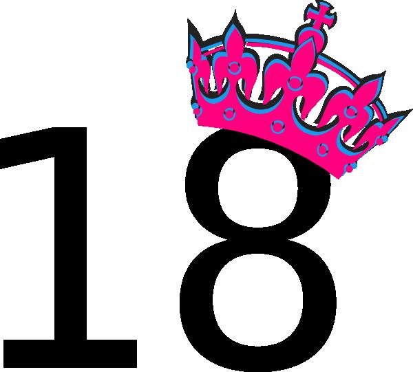 600x541 Pink Tilted Tiara And Number 18 Clip Art