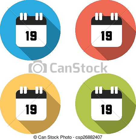 450x463 Collection Of 4 Isolated Flat Buttons (Icons) For Number 19