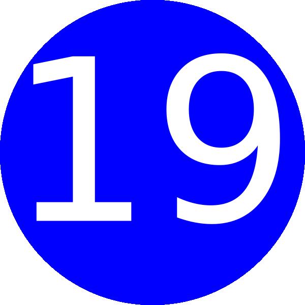 600x600 Number 19 Blue Background Clip Art