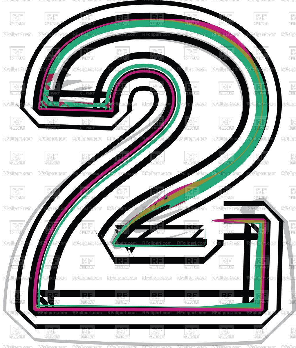 1020x1200 Color Line Font Illustration Number 2 Royalty Free Vector Clip Art