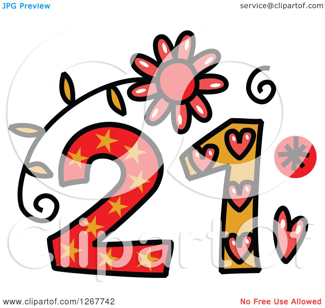 1080x1024 Clipart Of A Colorful Sketched Patterned Number 21