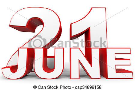 450x301 June 21. 3d Text On White Background. Illustration. Stock