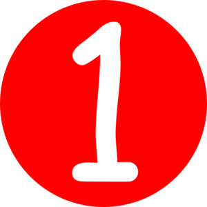 300x300 Red, Rounded,with Number 1 Clip Art