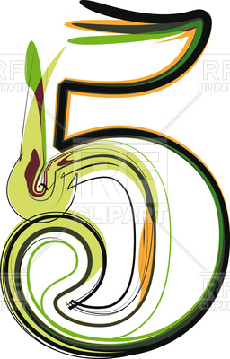256x400 Organic Type Number 5 Royalty Free Vector Clip Art Image
