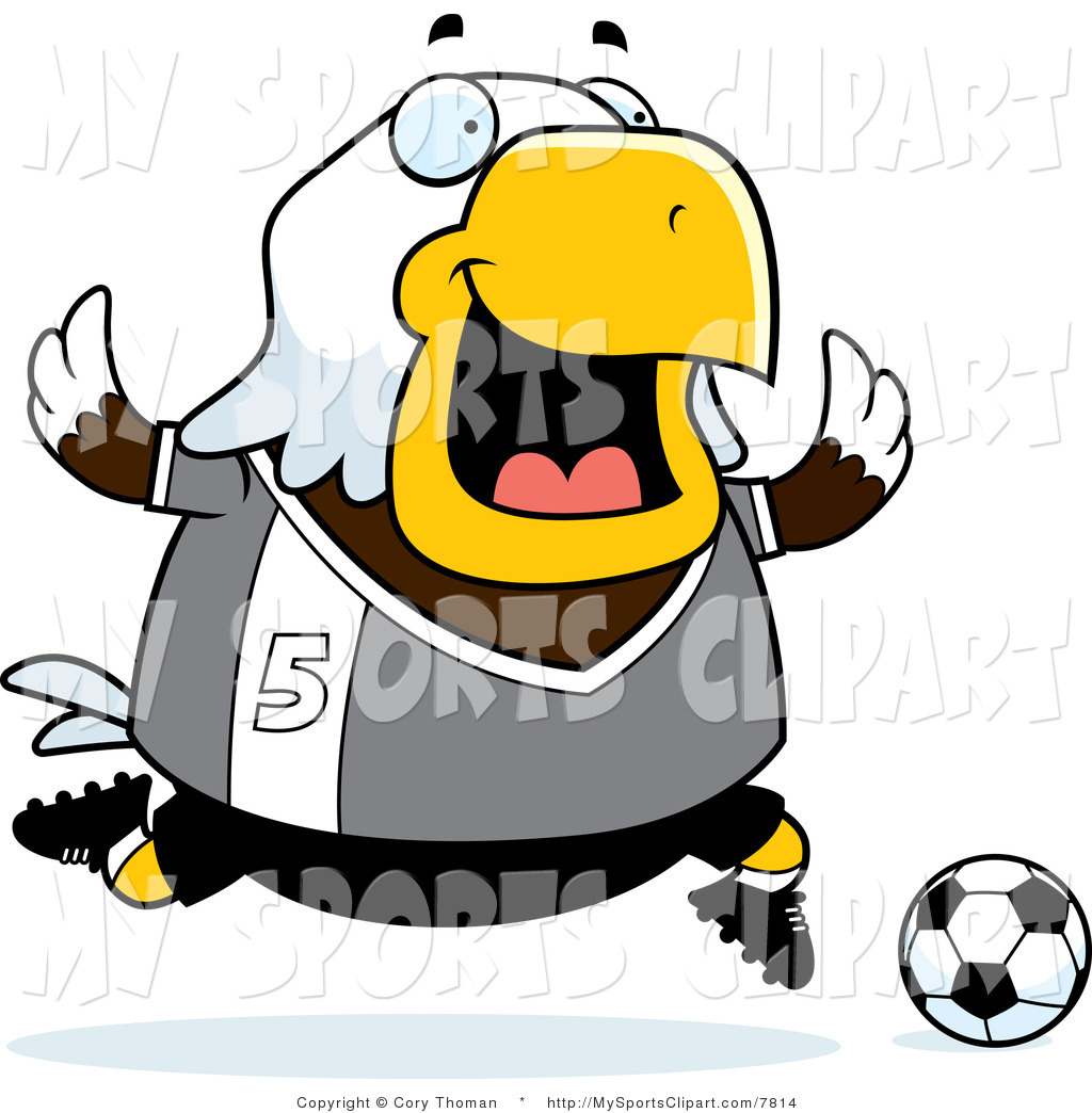 1024x1044 Sports Clip Art Of A Bald Eagle Playing Soccer In Gray Number 5 By