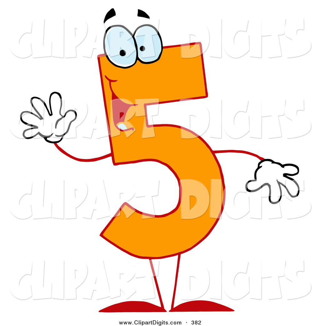 1024x1044 Vector Clip Art Of A Friendly Orange Number 5 Five Guy Waving By