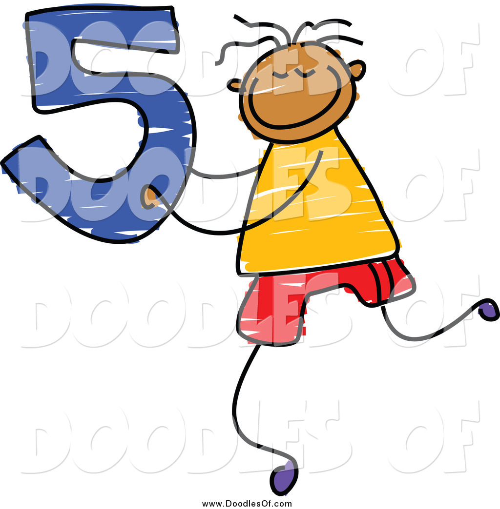 1024x1044 Vector Clipart Of A Doodle Boy Holding The Number 5 By Prawny