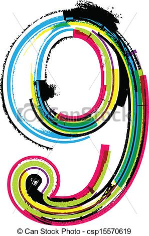 297x470 Colorful Grunge Number 9 Vector Clip Art