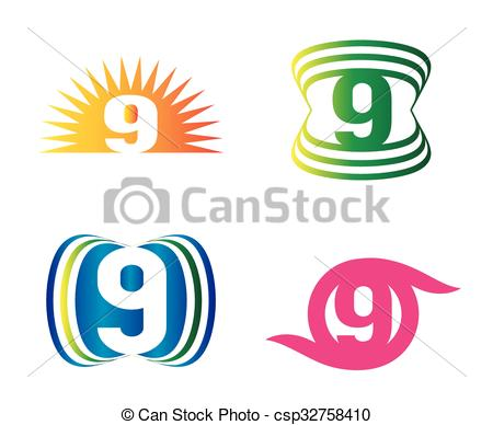 450x388 Number Nine 9 Logo Icon Template Vector Clip Art