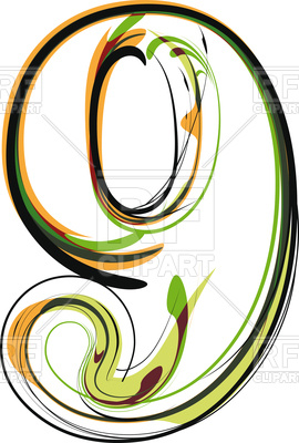 270x400 Organic Type Number 9 Royalty Free Vector Clip Art Image
