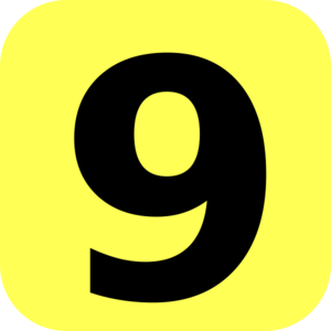300x300 Yellow Rounded Number 9 Clip Art